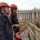 Discussing the progress with Ilya Filimontsev on the scafolding which was surrounding the working site and hiding our work from the sight of the public (The Vatican likes secrets).